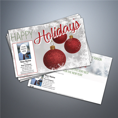 Happy Holidays - Red Bulbs Postcard