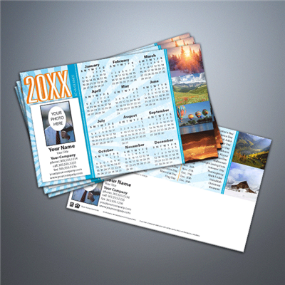 Mountain Sunburst Calendar Postcard