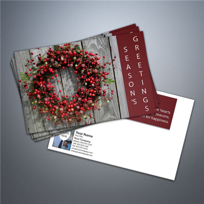 Seasons Greetings Wreath Postcard