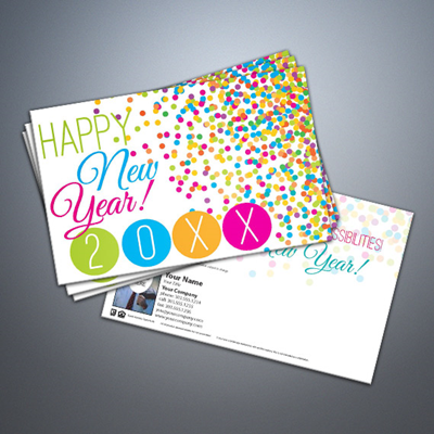 Happy New Year 006 Dots Postcard